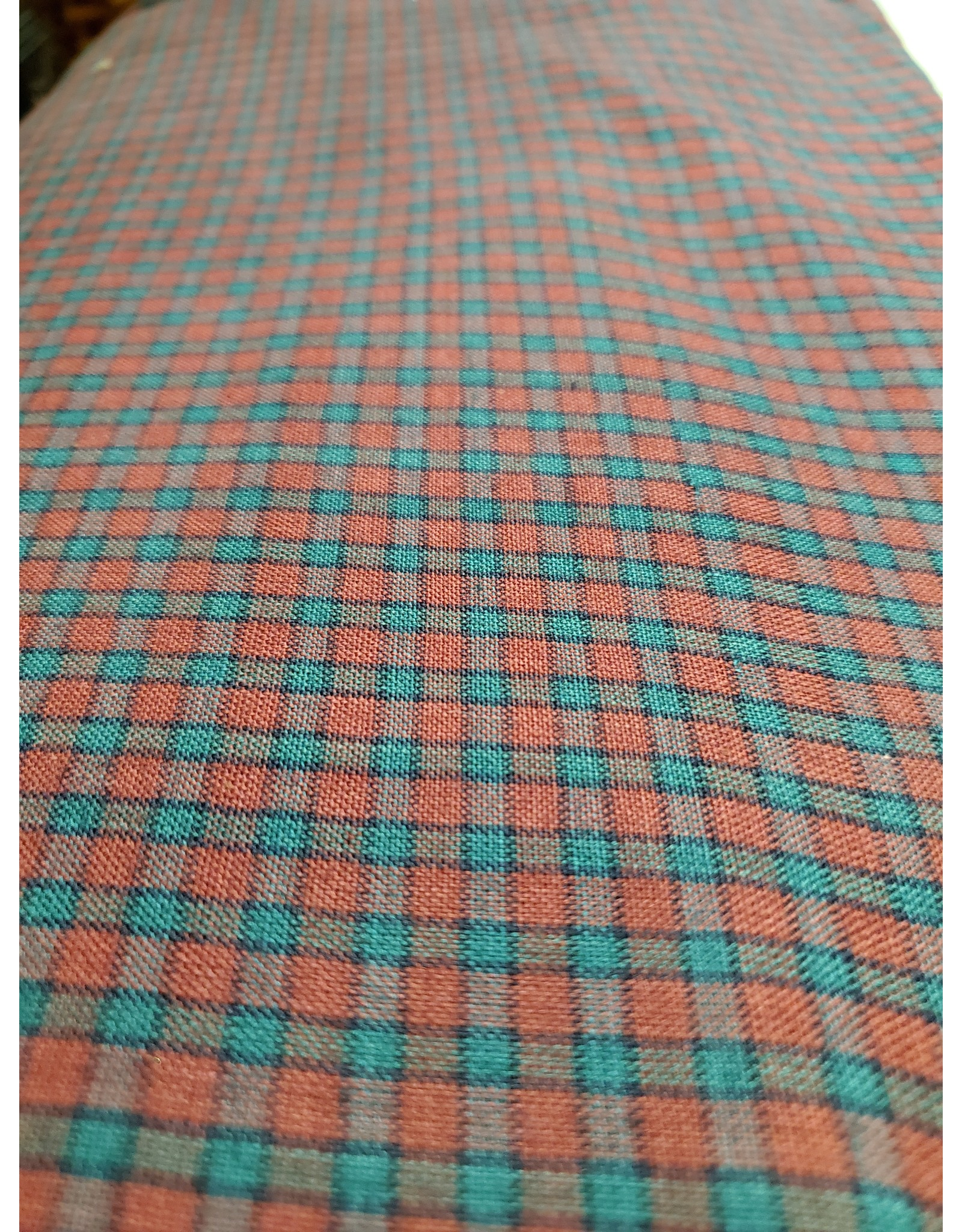 Yd.  Burgundy and Teal Small Check Fabric #3314
