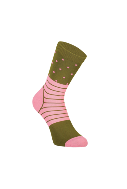 Bas Mons Royale Womens All Rounder Crew Sock Khaki Rose