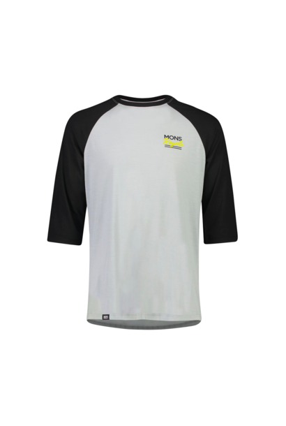 Jersey Mons Royale Mens Tarn Freeride Raglan 3/4 Black/Grey