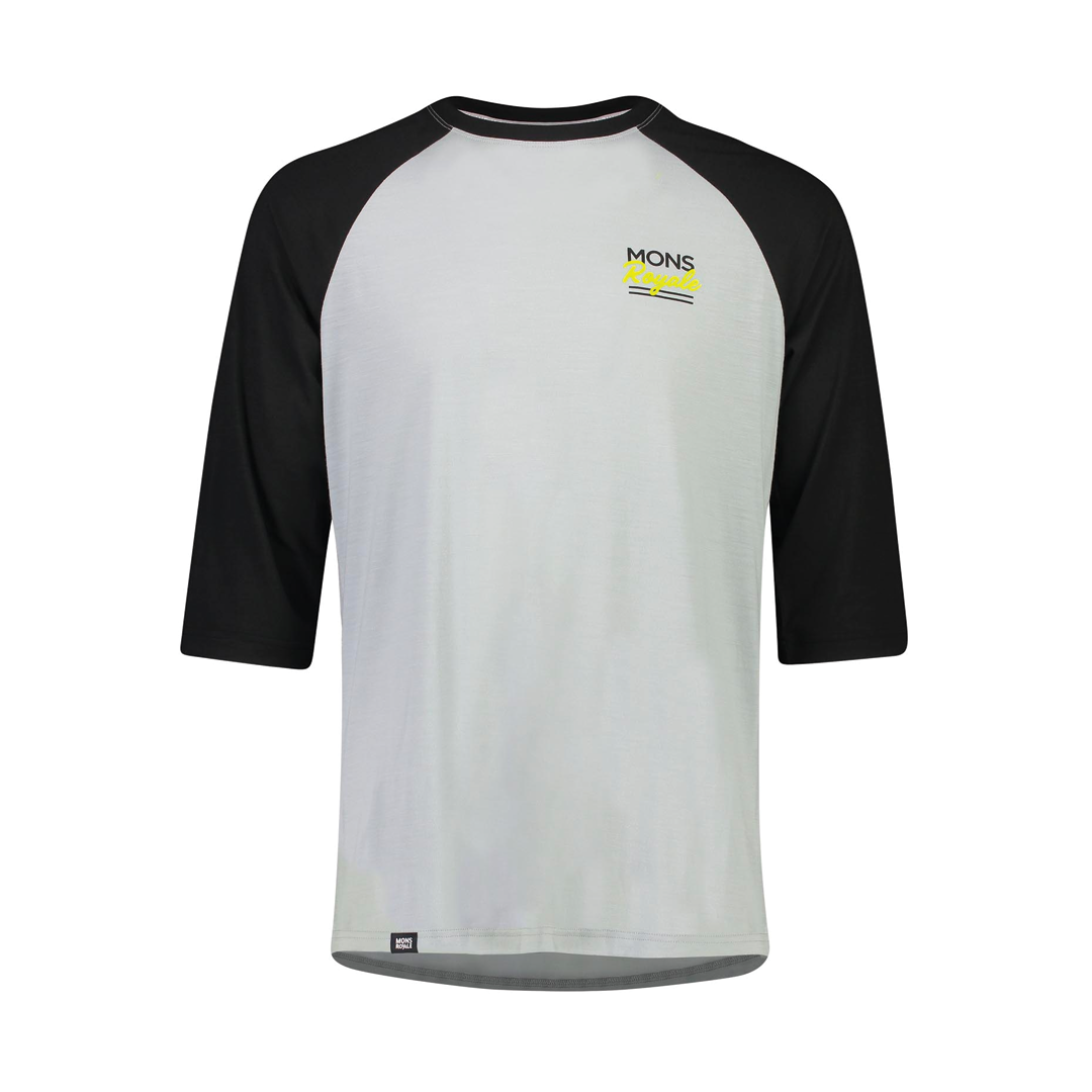 Jersey Mons Royale Mens Tarn Freeride Raglan 3/4 Black/Grey-1