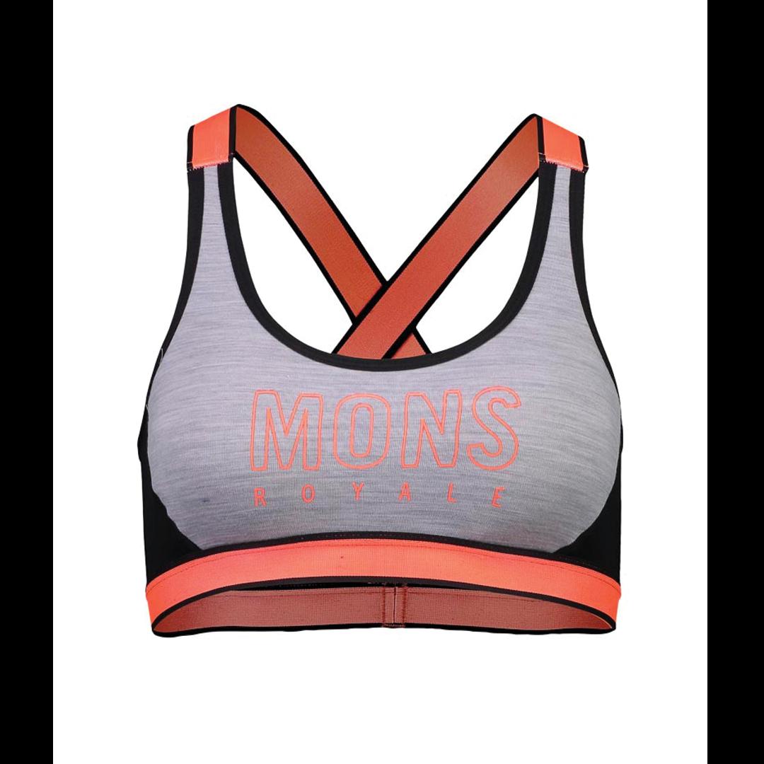 Brassière Mons Royale Womens Stella X-Back Bra Black / Grey Marl-1