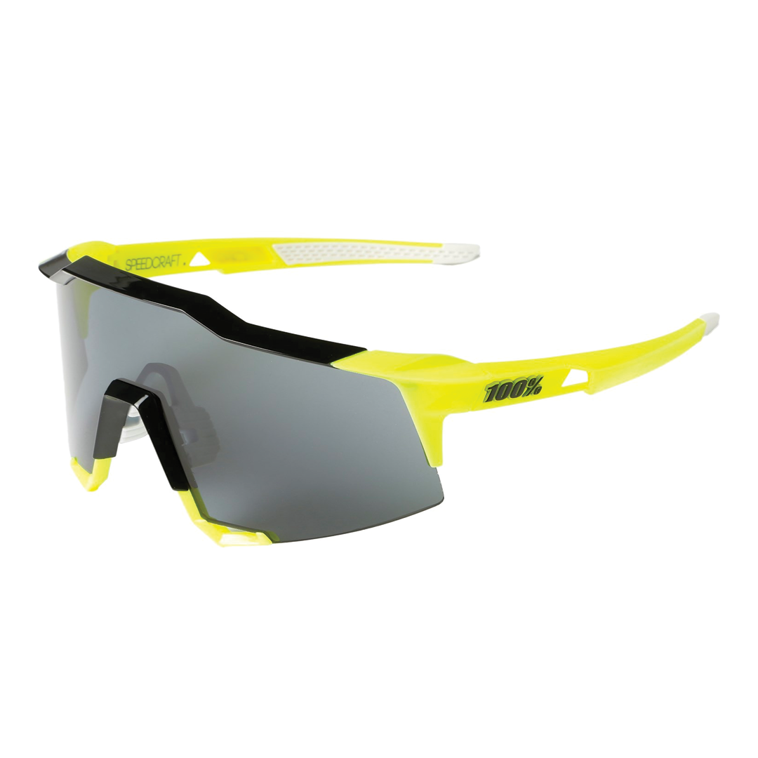 Sunglasses 100% Speedcraft® Fluo Yellow Silver Mirror + Clear Lens Included-1