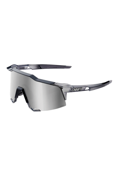 Sunglasses 100% Speedcraft® Polished Translucent Crystal Grey HiPER® Silver Mirror Lens + Clear Lens Included