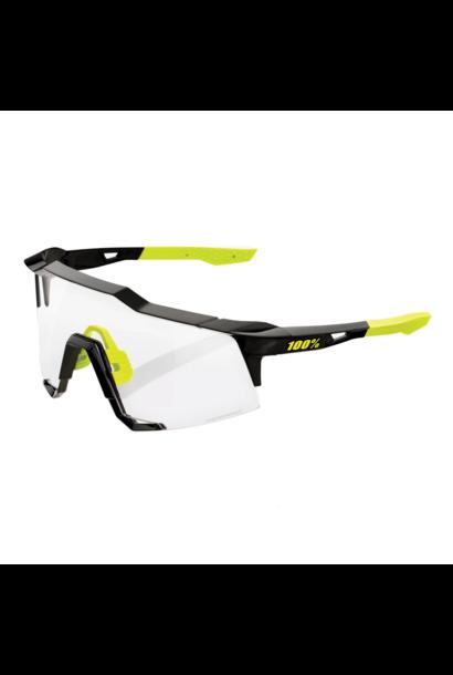 Sunglasses 100% Speedcraft® Gloss Black Photochromic Lens + Clear Lens Included