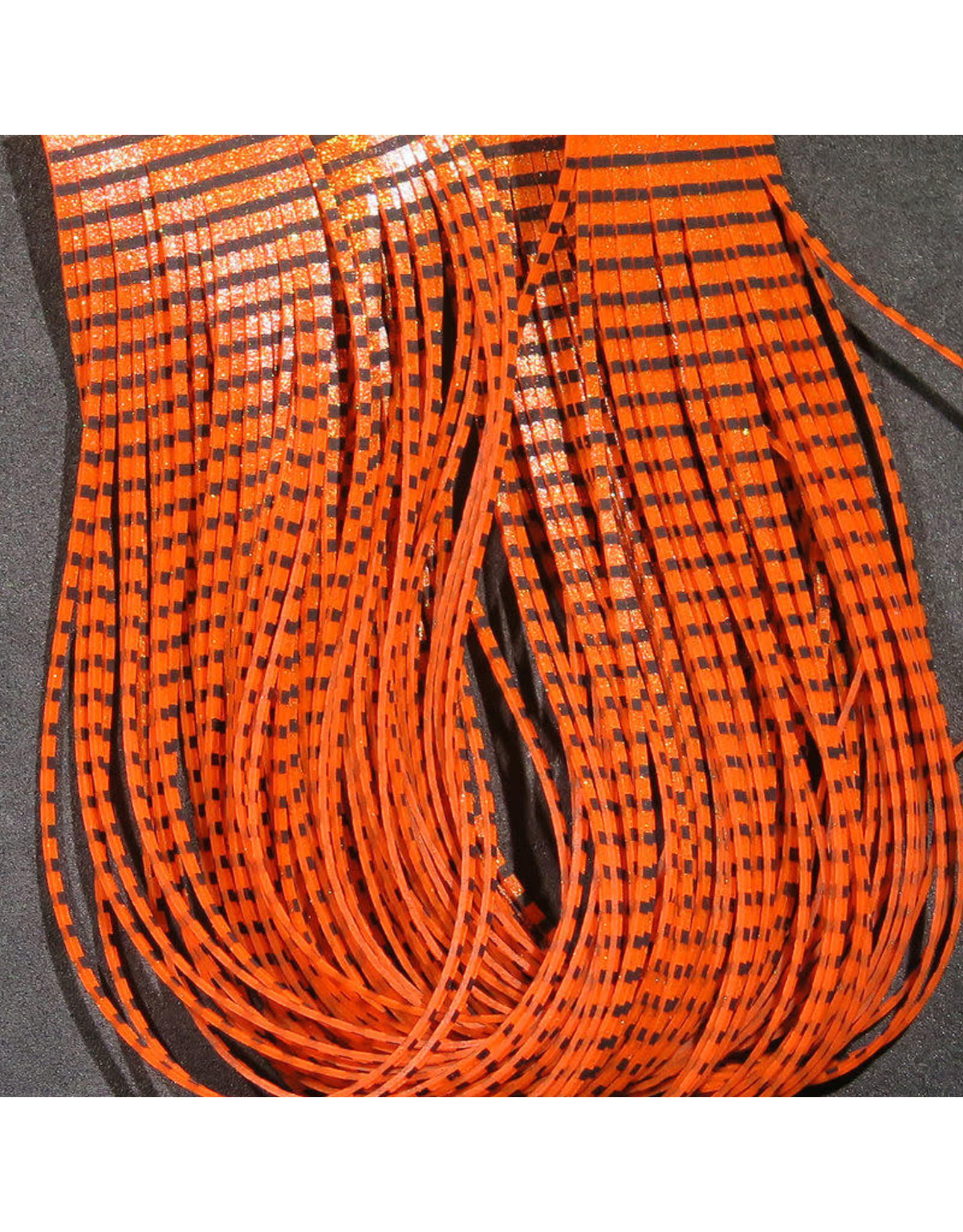 Hareline Grizzly Flutter Legs - Black Barred Orange
