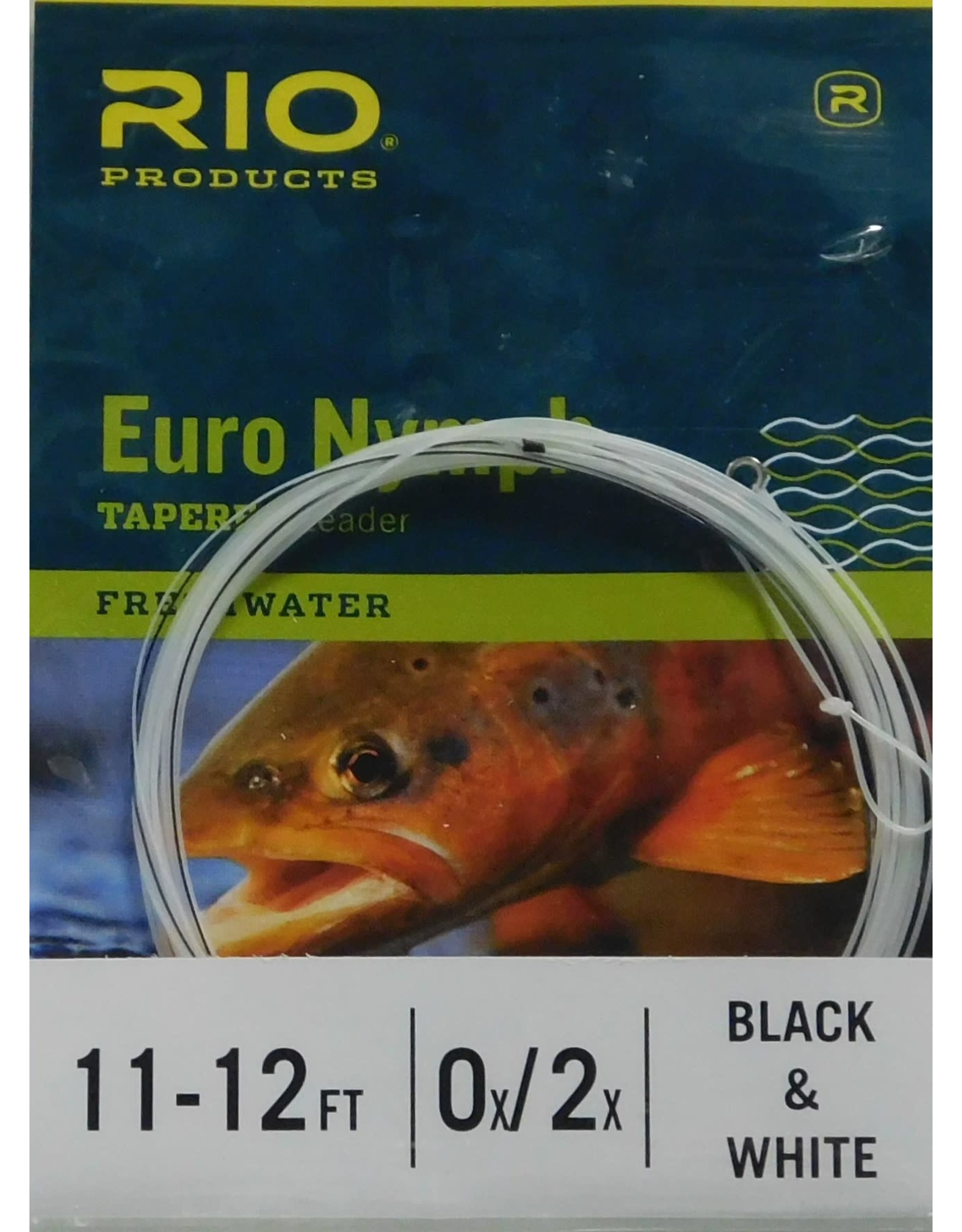 Rio Euro Nymph Leader w/Tippet Ring - Black/White Sighter