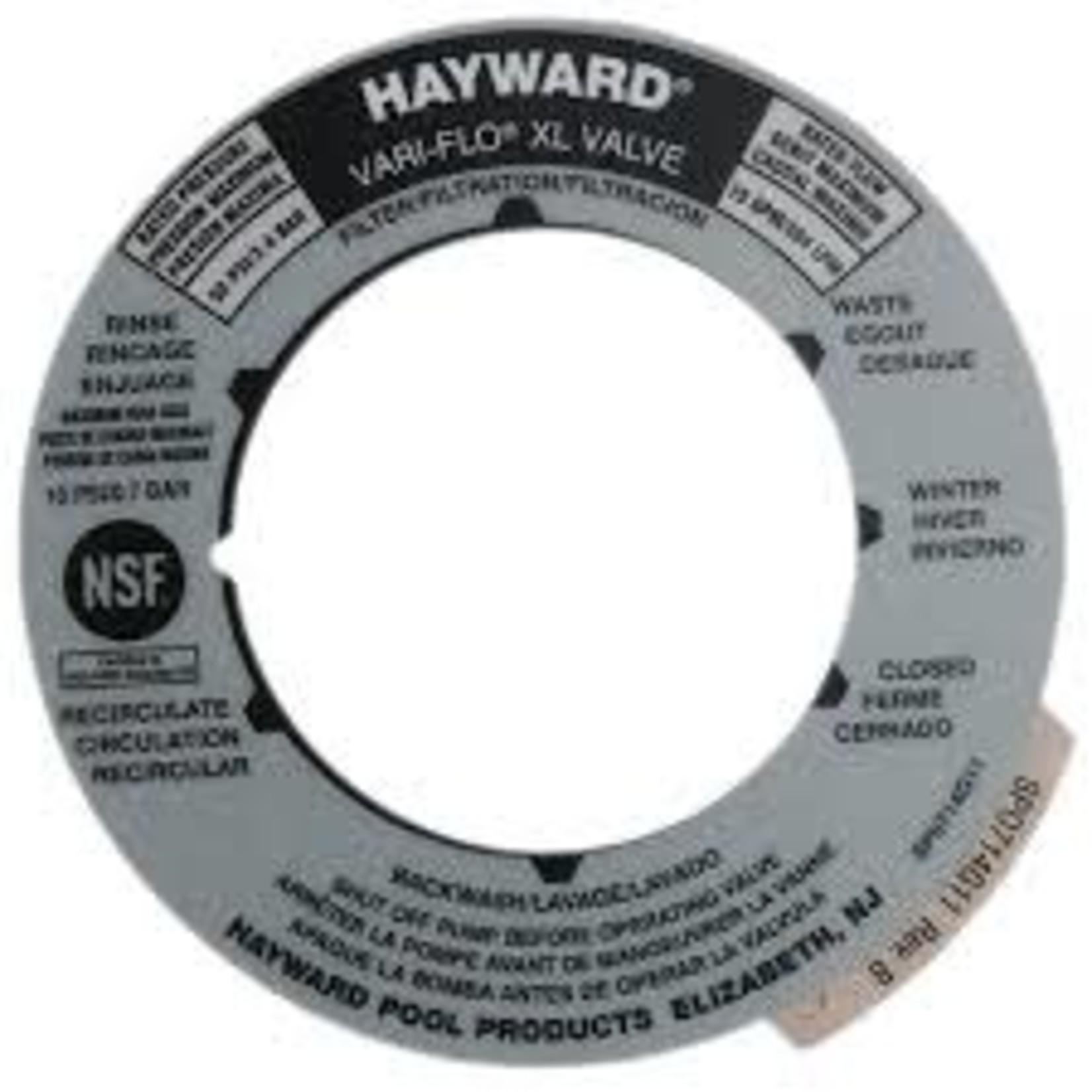 Hayward HAYWARD FILTER COVER LABEL