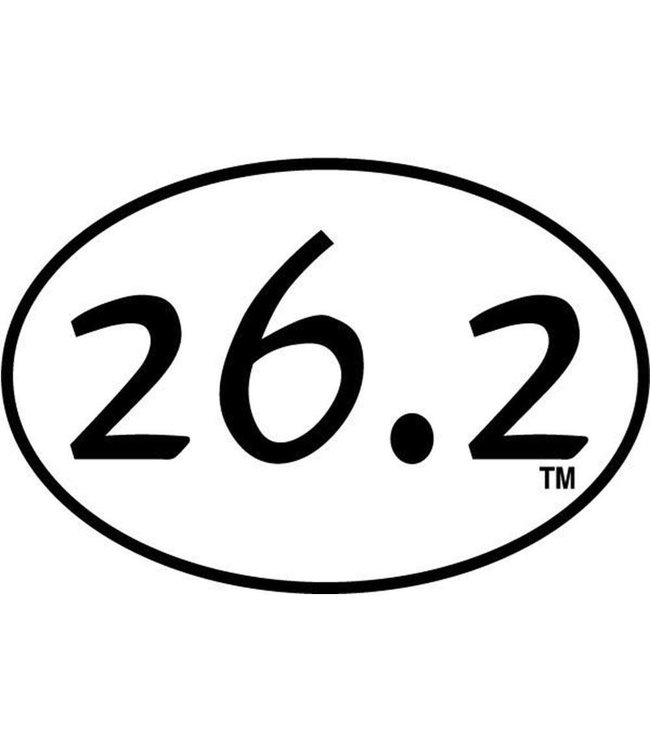 Baysix 26.2 Oval Magnet (White with Black)