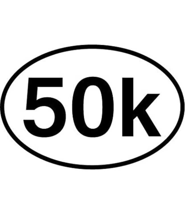 Baysix 50k Oval Decal (White with Black Print)