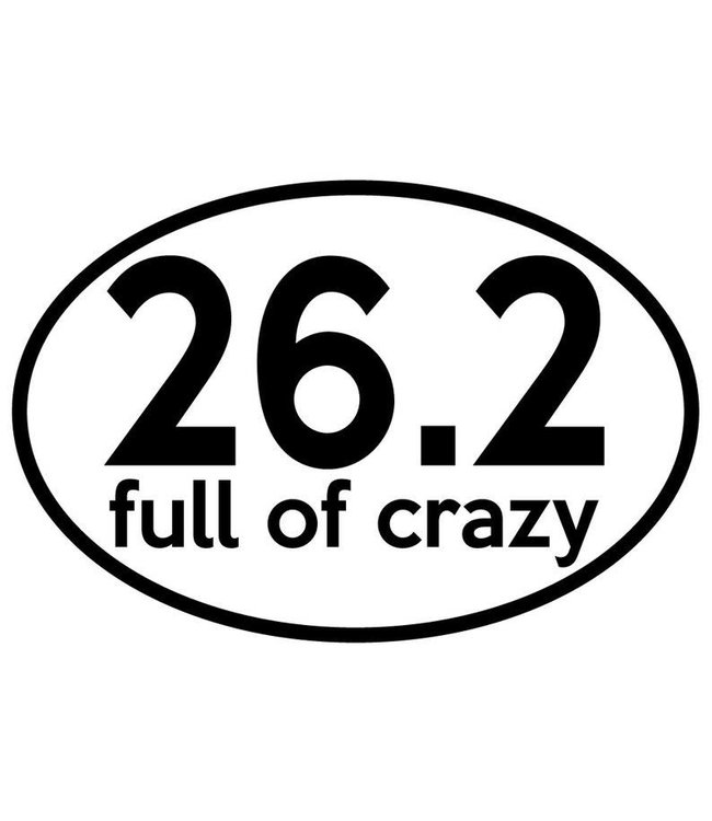 Baysix 26.2 Full of Crazy Oval Decal (White with Black Print)