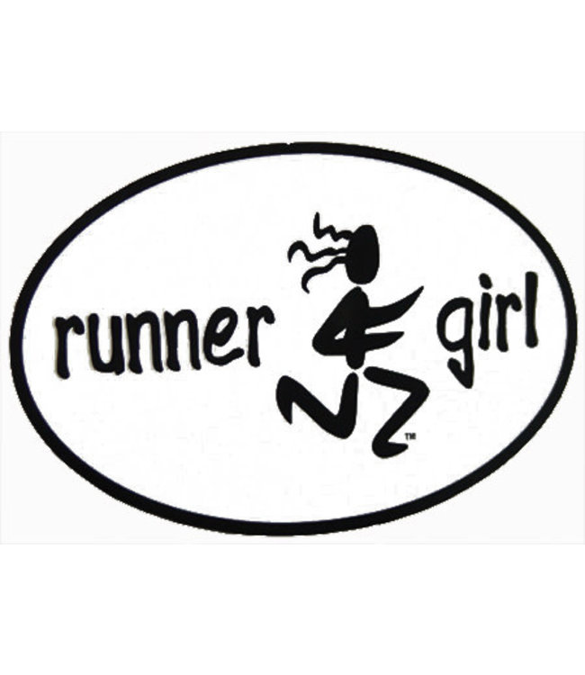 Baysix Runner Girl Oval Decal (White with Black Print)