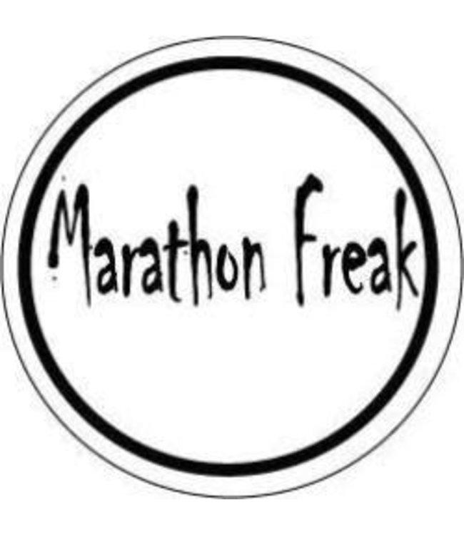 Baysix Marathon Freak Round Decal (White with Black Print)