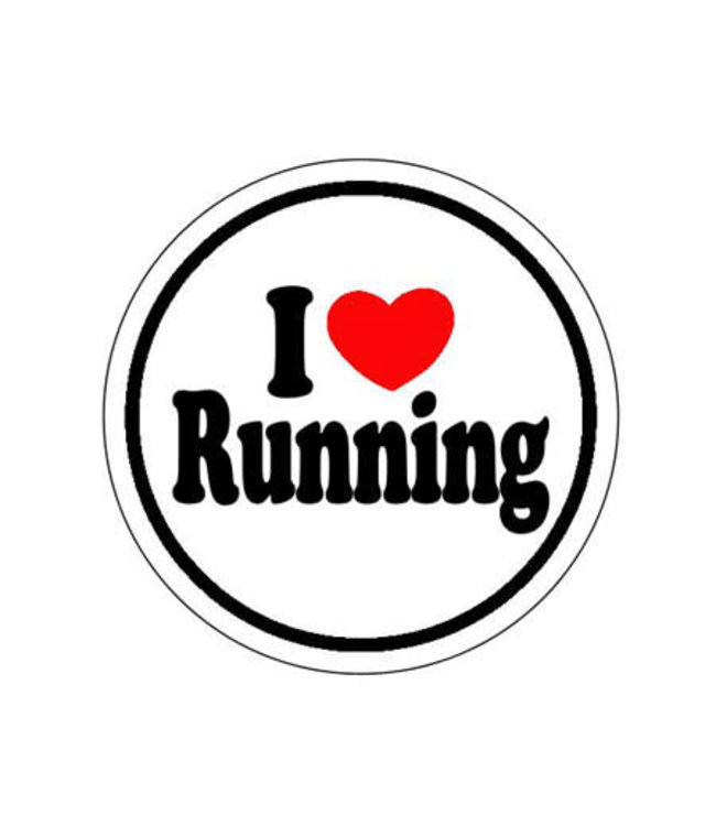 Baysix I Heart Running Round Decal (White with Black and Red Print)
