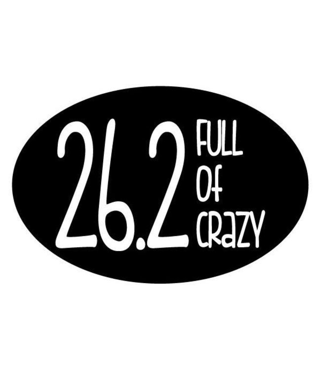 Baysix 26.2 Full of Crazy Oval Magnet (Black with White Print)