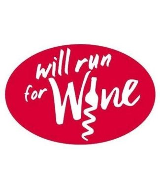 Baysix Will Run for Wine Oval Magnet (Red with White Print)