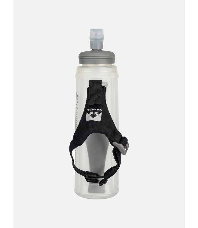 Nathan Sports 14oz Exoshot Lite Handheld Soft Flask with Bite Top - Black/Reflective Silver