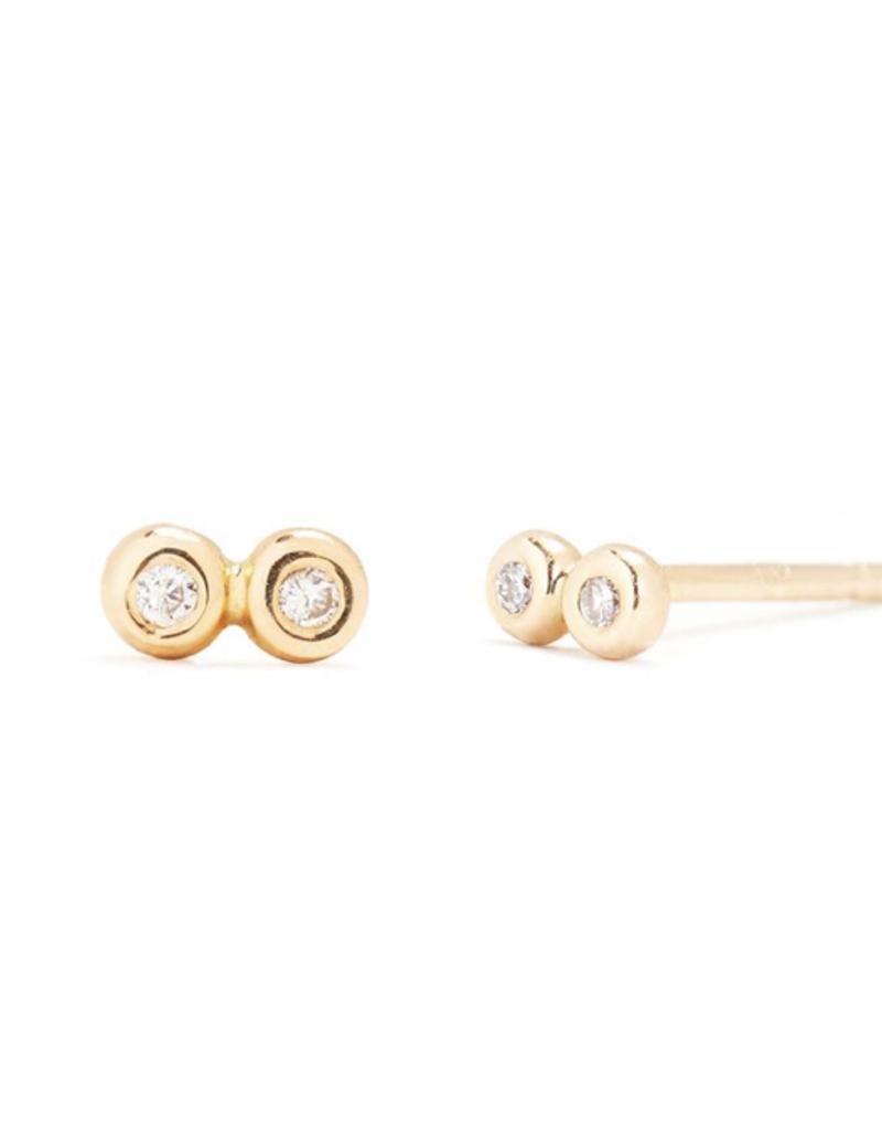 Scosha Scosha Tiny Infinity Studs in Gold with Diamonds