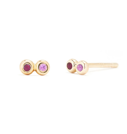Scosha Scosha Tiny Infinity Studs in Gold with Ruby and Pink Sapphire
