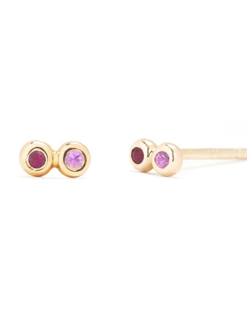Scosha Scosha Tiny Infinity Studs in Gold with Ruby and Pink Sapphire