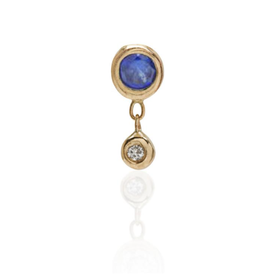 Scosha Scosha Tiny Bezel Stud with Sapphire and Diamond