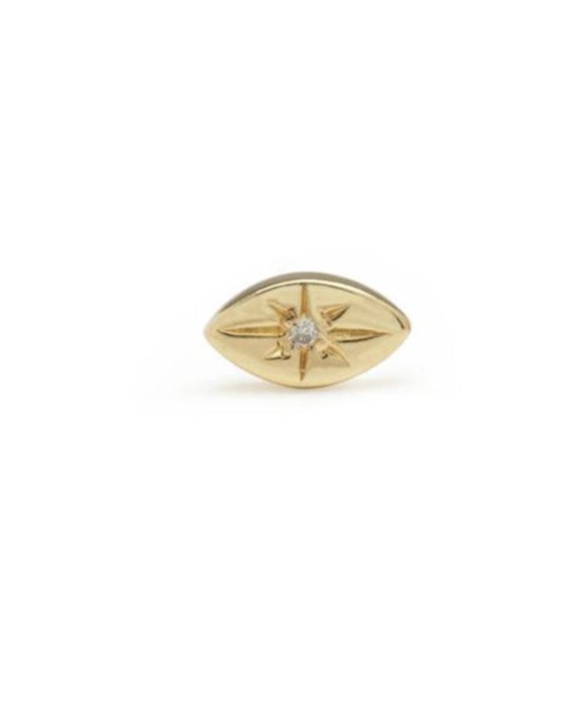 Scosha Scosha Tiny Evil Eye Stud Gold with White Diamond