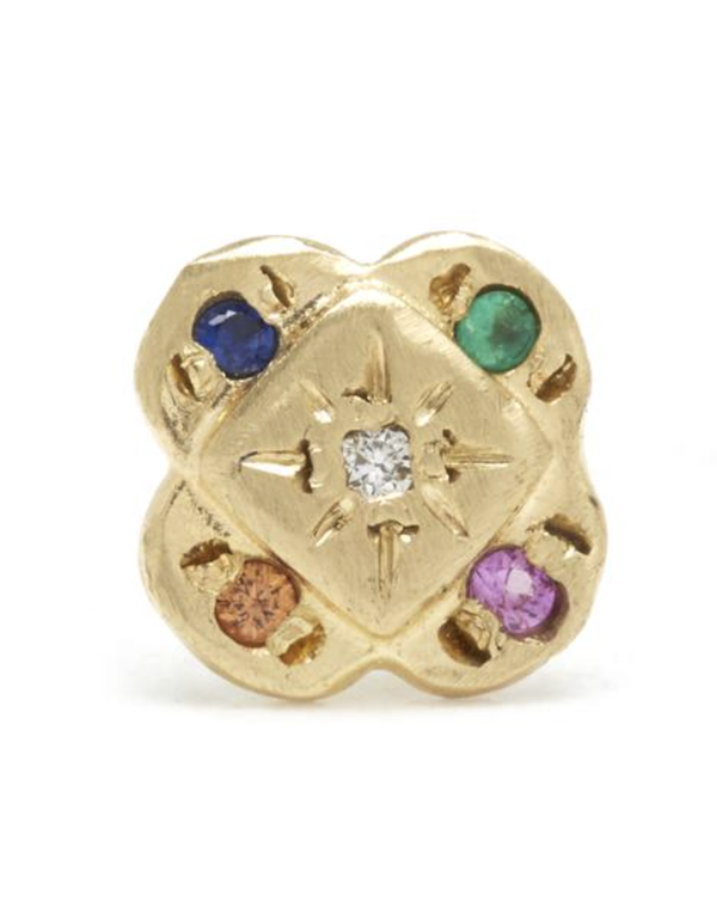 Scosha ENDLESS KNOT STUDS IN GOLD WITH MIXED STONES- BLUE SAPPHIRE, PEACH SAPPHIRE, HOT PINK SAPPHIRE, EMERALD, WHITE DIAMOND)