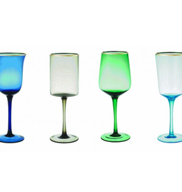 BITOSSI Bitossi Wine Goblets in Assorted Shapes, Blue/Green, Set of 6
