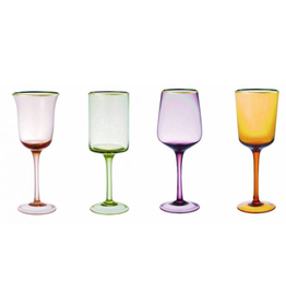 BITOSSI Bitossi Wine Goblets in Assorted Shapes, Amber/Pink, Set of 6