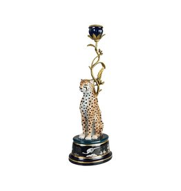 &Klevering &Klevering Porcelain & Brass  Leopard Candle Holder