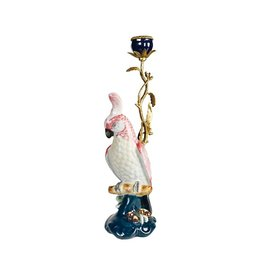 &Klevering &Klevering  Porcelain & Brass Cockatoo Candle Holder