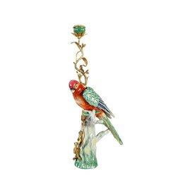 &Klevering &Klevering Porcelain & Brass Parrot Candle Holder