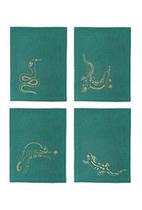 &Klevering &Klevering Napkins emerald reptile set of 4