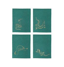 &Klevering &Klevering Emerald Reptile Embroidered Napkins