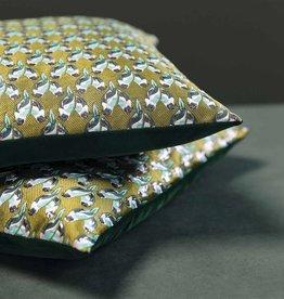 &Klevering &Klevering Green Velvet Embroidered Parrot Cushion