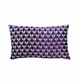 &Klevering &Klevering Cobalt Velvet Embroidered Parrot Cushion