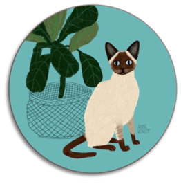 Avenida Home Seal Point Siamese Cat Coaster