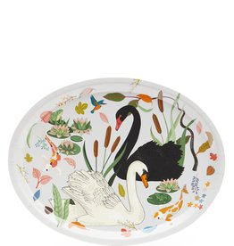 Swan Lake Oval Birch Wood Tray