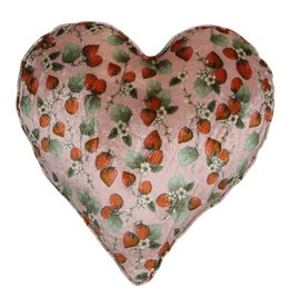Kip&Co Kip & Co Strawberry Velvet Heart Cushion