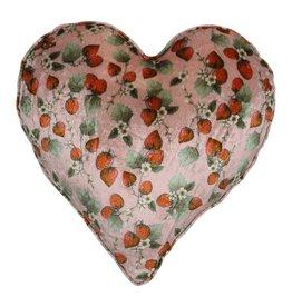 Kip&Co Kip & Co Strawberry Velvet Heart Cushion