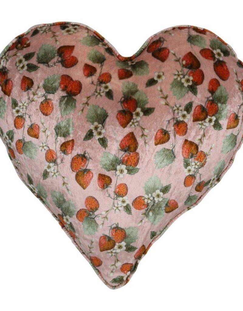 Kip&Co Kip&Co THE STRAWBERRY VELVET HEART CUSHION