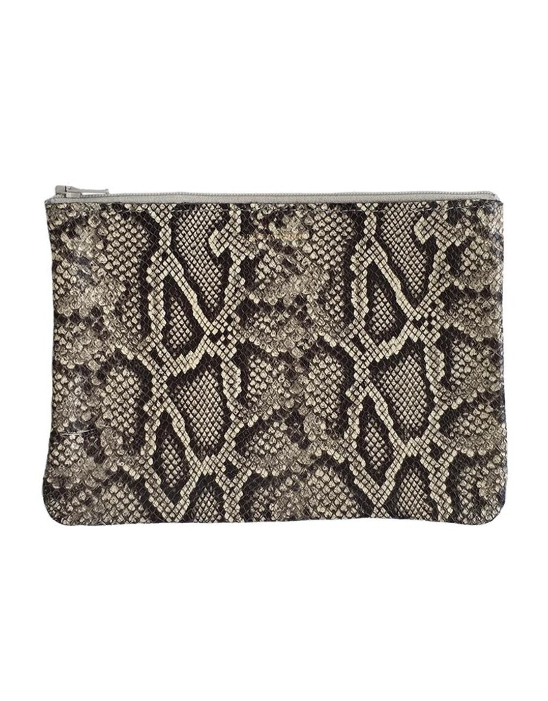 Tracey Tanner Tracey Tanner Exotic Zip Medium - Faux Snakeskin Oatmeal