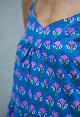 SZ Blockprints SZ Tier Dress Waterlily Violet Medium