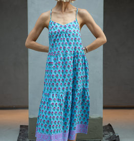 SZ Blockprints SZ Tier Dress, Lakshmi Blue - Medium