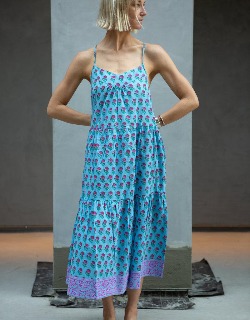 SZ Blockprints SZ Tier Dress Lakshmi Blue Medium