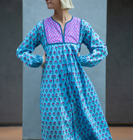 SZ Blockprints SZ Kitty Dress, Lakshmi Blue - Medium