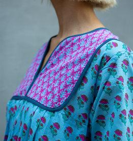SZ Blockprints SZ Kitty Dress, Lakshmi Blue - Large
