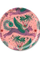 Emma J. Shipley Emma J Shipley Pink Lynx Round Tray