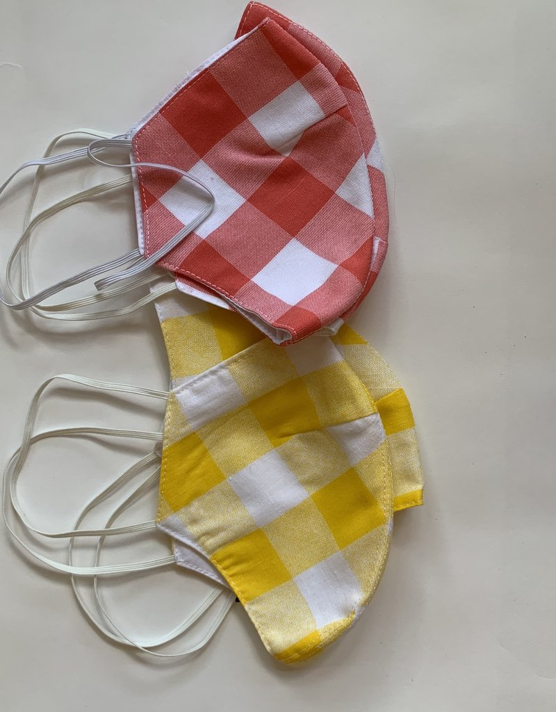 Tracy Feith Tracy Feith Yellow Jumbo Gingham Face Mask