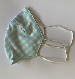 Tracy Feith Tracy Feith Pale Blue Gingham Face Mask