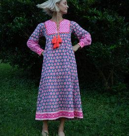 SZ Blockprints SZ Blockprints Jodhpur Dress, Bagru Stamp Gaze Blue Neon Papaya